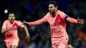 Messi celebra el seu gol contra l'Espanyol.