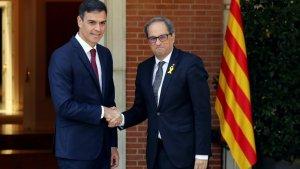 Pedro Sánchez i Quim Torra, abans de reunir-se a La Moncloa