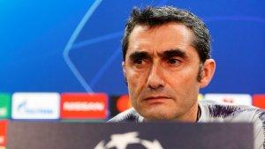 Valverde, durant la roda de premsa prèvia al Barça-Tottenham.