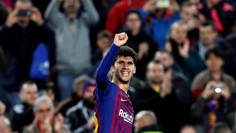 Carles Aleñá celebra el seu primer gol a la Lliga amb el primer equip del Barça.