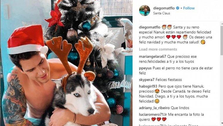 Diego Matamoros felicitando la Navidad a sus seguidores