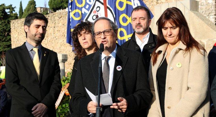 El president de la Generalitat, Quim Torra, durant el parlament després de l'ofrena floral del Govern a la tomba de Macià, el 25 de desembre del 2018