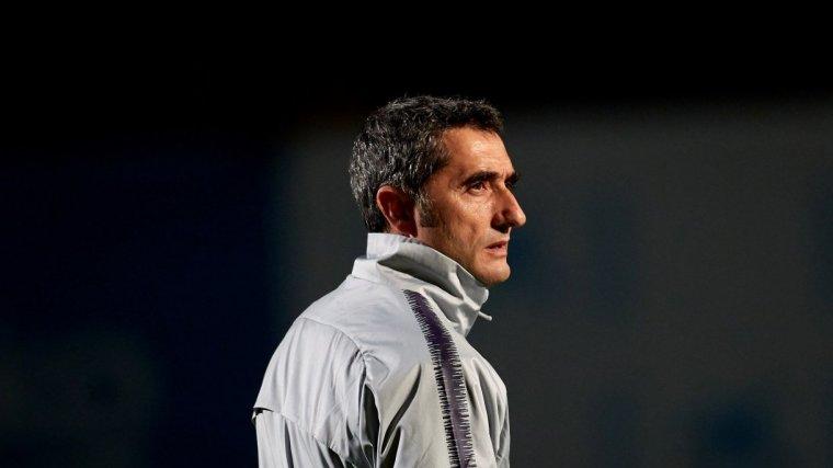 Ernesto Valverde, durant l'entrenament del Barça previ al partit contra la Cultural Leonesa.