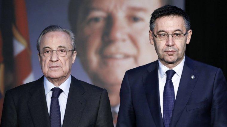Josep Maria Bartomeu i Florentino Pérez, en l'Espai Memorial a Núñez.
