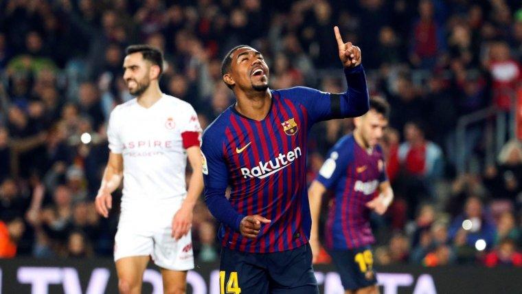 Malcom celebra el seu gol contra la Cultural Leonesa.