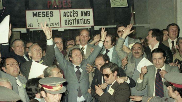 Núñez, després de proclamar-se president del Barça el 1978