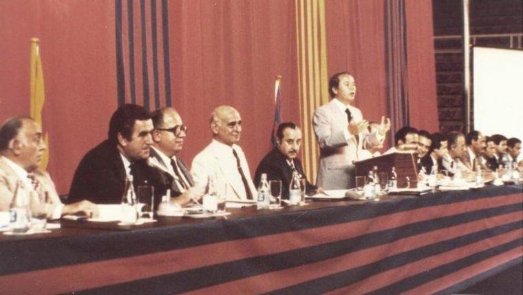 Núñez, durant l'Assemblea de Compromissaris del Barça del setembre del 1981.