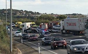 Accident a la carretera N-340 a l'altura d'Altafulla