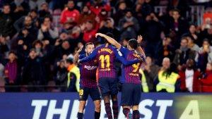 Alba i Suárez feliciten a Dembélé pel seu gol al Leganés