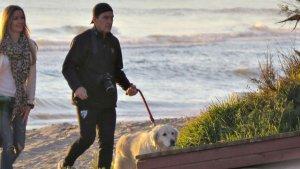 Banderas paseando con su novia y su perro