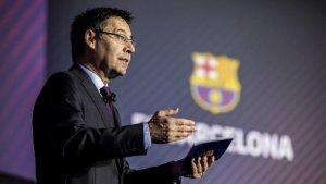 Bartomeu, durant l'Assemblea General del 2018 del Barça.