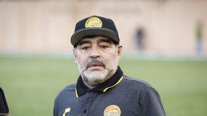 Diego Armando Maradona, durant un entrenament del seu nou equip, el Dorados de Sinaloa.