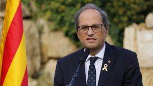 El president Quim Torra pronunciant unes paraules durant l'ofrena al president Companys