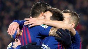 Els jugadors del Barça celebren un dels gols contra el Leganés.