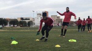 Els jugadors del Reus, durant un entrenament.