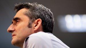 Ernesto Valverde, durant la roda de premsa prèvia al Barça-Llevant.