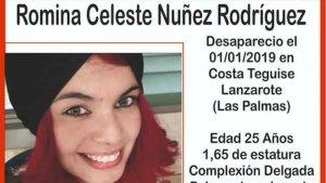 Imagen del anuncio de desaparición de Romina