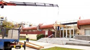 Imatge de les obres de remodelació de l'entrada al Tanatori de Reus