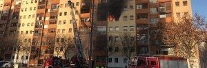 Imatge del pis que s'ha incendiat aquest dissabte a Badalona
