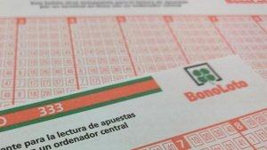 Imatge d'una butlleta de la Bonoloto.