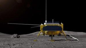 Imatge no real de la nau aterrada a la lluna