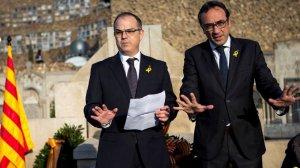 Jordi Turull i Joaquim Rull, en un acte del Govern al cementiri de Montjuïc