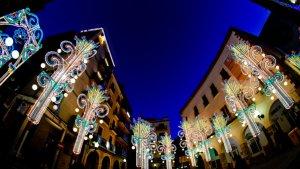 La plaça del Blat engalanada per les festes decennals de l'any 2011.