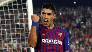 Luis Suárez celebra un gol amb el Barça.