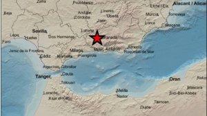 Mapa que indica el punto donde se han registrado los terremotos