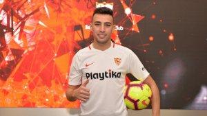 Munir, durant la seva presentació amb el Sevilla.