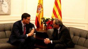Pedro Sánchez i Quim Torra, reunits abans del 21-D