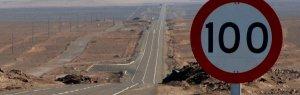 Señal de tráfico de límite de velocidad a 100km/h