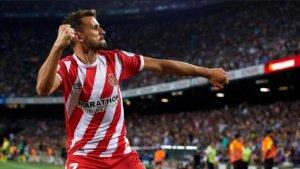 Stuani, celebrant un dels gols al Camp Nou
