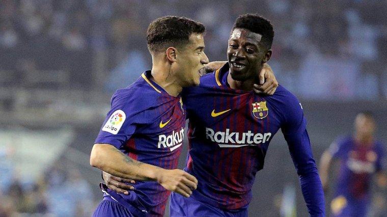 Dembélé i Coutinho celebren un gol amb el Barça.