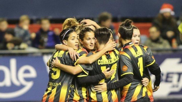 Les jugadores de la selecció catalana celebren un dels gols que van marcar contra Navarra el 2017.