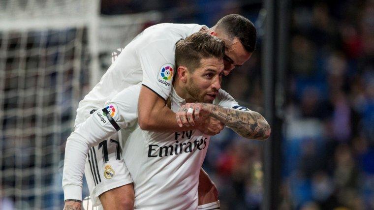 Sergio Ramos celebra el seu gol de penal contra el Leganés.