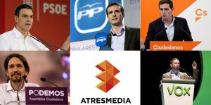 Atresmedia cita a PSOE, PP, Ciudadanos, Podemos y Vox para un debate electoral el 23 de abril