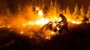 Bomberos trabajan para extinguir un incendio en Bíobio, Chile