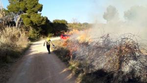 Bombers treballant en les tasques d'extinció d'un incendi a Barberà de la Conca.
