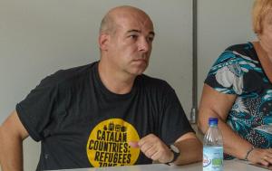 David Minoves, Ana Surra i Oriol Amorós, durant l'acte a la UCE de Prada