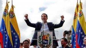 El president de l'Assemblea Nacional de Veneçuela, Juan Guaidó, durant una manifestació contra Nicolás Maduro
