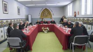 Els bisbes de les diferents diòcesis catalanes reunits en el marc de la trobada de la Tarraconense
