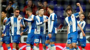 Els jugadors de l'Espanyol celebren el gol de Granero