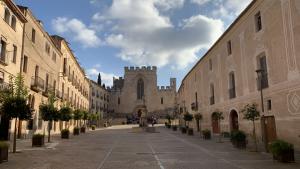 En aquesta plaça, a Santes Creus, es troben les dependències de l'Ajuntament d'Aiguamúrcia.