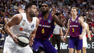 Felipe Reyes i Singleton, durant la final de la Copa del Rei de bàsquet.