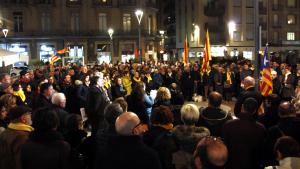 Imatge de la concentració d'ahir dimarts, 12 de febrer, a la plaça Alfons XII de Tortosa
