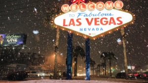 Imatge de la sorprenent nevada a Las Vegas