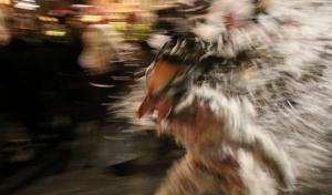 Imatge del Moixó Foguer de Valls, personatge carnavalesc recuperat per la Unió Anelles de la Flama el 2016