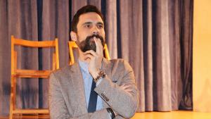 Imatge del president del Parlament, Roger Torrent, en un acte polític al Pla de Santa Maria