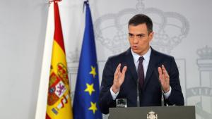Pedro Sánchez durant la compareixença